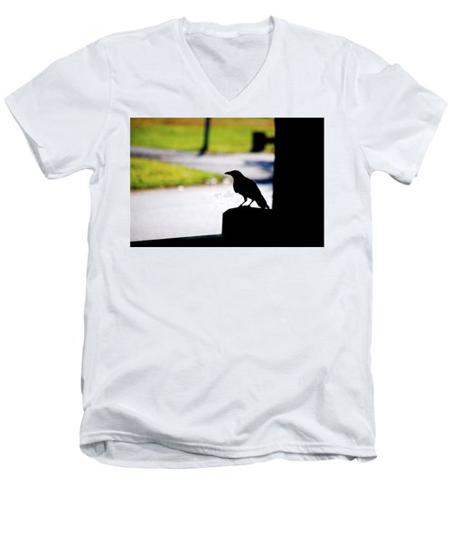 Men's V-Neck T-Shirt featuring the photograph The Crow Awaits by Karol Livote