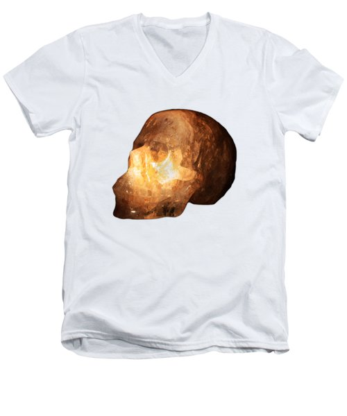 The Crystal Skull On Transparent Background Men's V-Neck T-Shirt by Terri Waters
