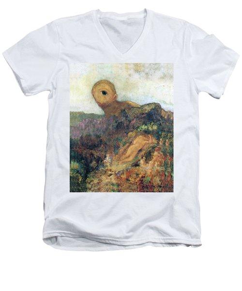 The Cyclops Men's V-Neck T-Shirt by Odilon Redon