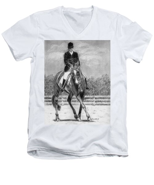 Men's V-Neck T-Shirt featuring the drawing The Dance by Quwatha Valentine