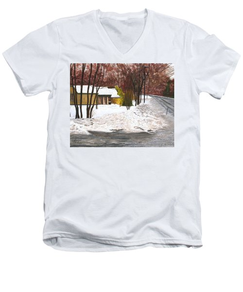 Men's V-Neck T-Shirt featuring the painting The Day After by Stuart B Yaeger