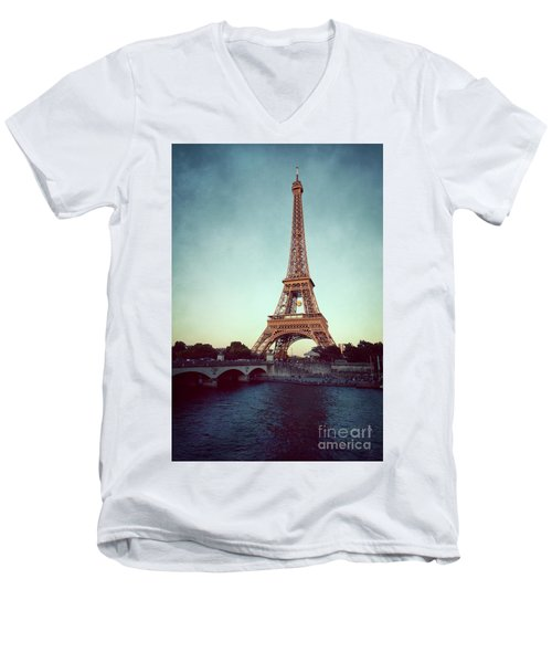Men's V-Neck T-Shirt featuring the photograph The Eifeltower by Hannes Cmarits