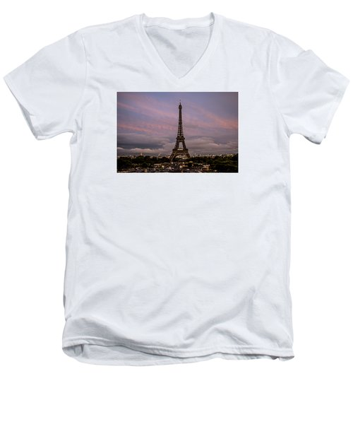 The Eiffel Tower At Sunset Men's V-Neck T-Shirt by Jean Haynes