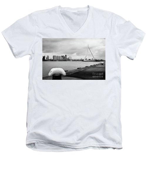 Men's V-Neck T-Shirt featuring the photograph The Erasmus Bridge In Rotterdam Bw by RicardMN Photography