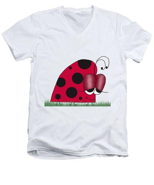 The Euphoric Ladybug Men's V-Neck T-Shirt by Michelle Brenmark
