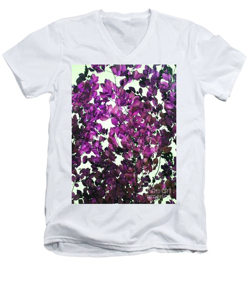 Men's V-Neck T-Shirt featuring the photograph The Fall - Intense Fuchsia by Rebecca Harman