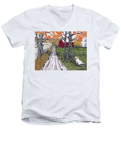Sadie The Farm Dog Men's V-Neck T-Shirt