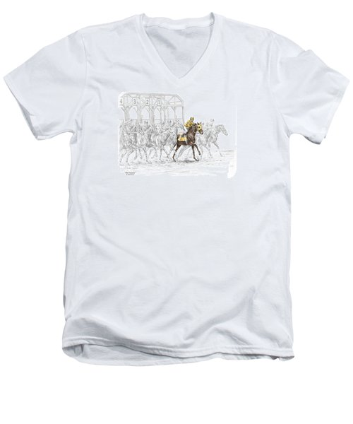 Men's V-Neck T-Shirt featuring the drawing The Favorite - Thoroughbred Race Print Color Tinted by Kelli Swan