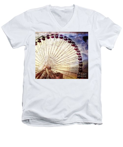 The Ferris Wheel At Navy Pier Men's V-Neck T-Shirt by Mary Machare
