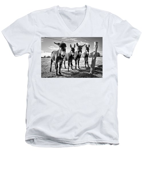 Men's V-Neck T-Shirt featuring the photograph The Four Amigos by Sharon Jones