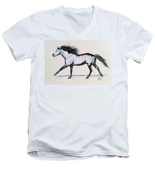 The Framed American Paint Horse Men's V-Neck T-Shirt by Cheryl Poland