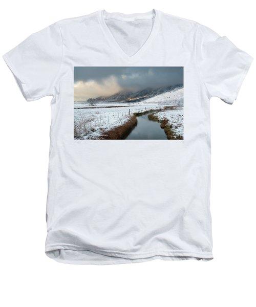 The Front Men's V-Neck T-Shirt by Scott Warner