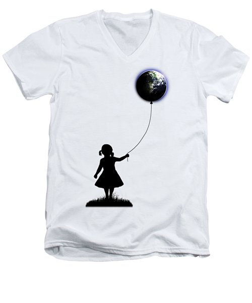 The Girl That Holds The World - White  Men's V-Neck T-Shirt by Nicklas Gustafsson