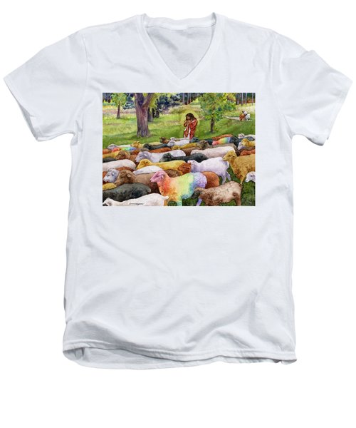 Men's V-Neck T-Shirt featuring the painting The Good Shepherd by Anne Gifford