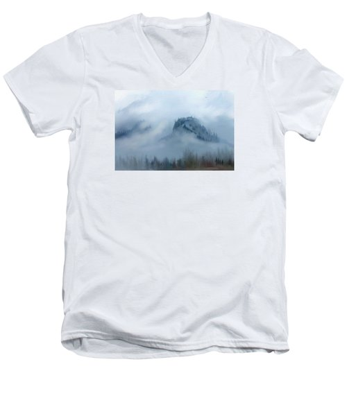 The Gorge In The Fog Men's V-Neck T-Shirt by Debra Baldwin