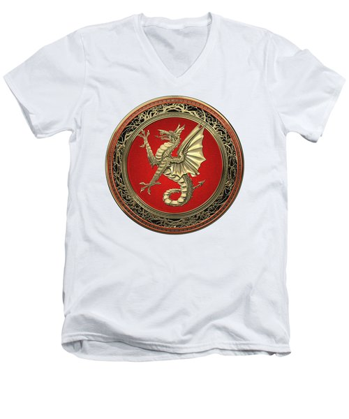 The Great Dragon Spirits - Gold Sea Dragon Over White Leather Men's V-Neck T-Shirt