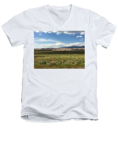 Men's V-Neck T-Shirt featuring the photograph The Great Sand Dunes by Christin Brodie