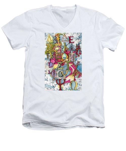 The Greek Alphabet Men's V-Neck T-Shirt by Claudia Cole Meek