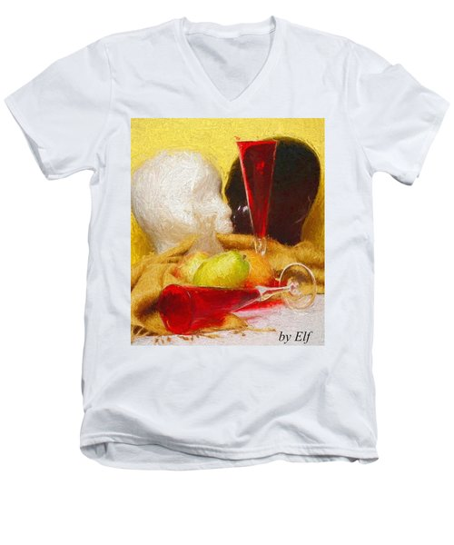 Men's V-Neck T-Shirt featuring the digital art The Green Pear by Elf Evans