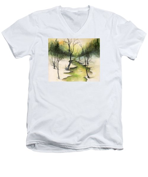 Men's V-Neck T-Shirt featuring the painting The Greenwood by Terry Webb Harshman