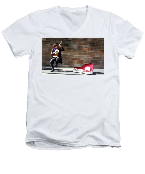 Men's V-Neck T-Shirt featuring the painting The Guitarist by David Dehner
