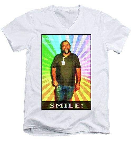 Men's V-Neck T-Shirt featuring the mixed media The Healing Smile Mosaic by Shawn Dall