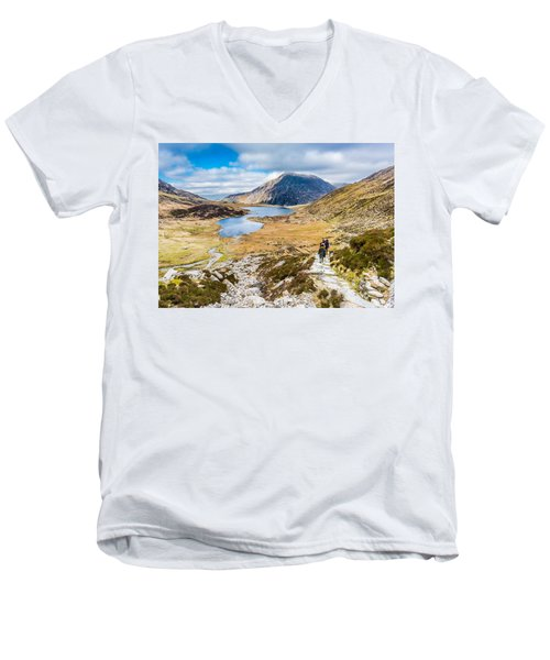 Men's V-Neck T-Shirt featuring the photograph The Hike Back Down by Nick Bywater