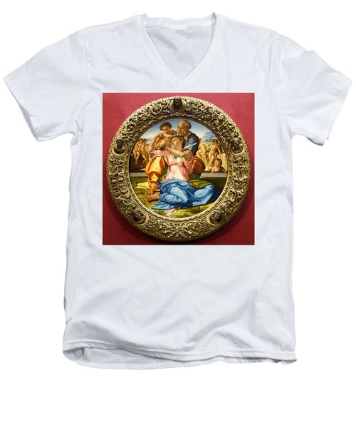 The Holy Family - Doni Tondo - Michelangelo Men's V-Neck T-Shirt