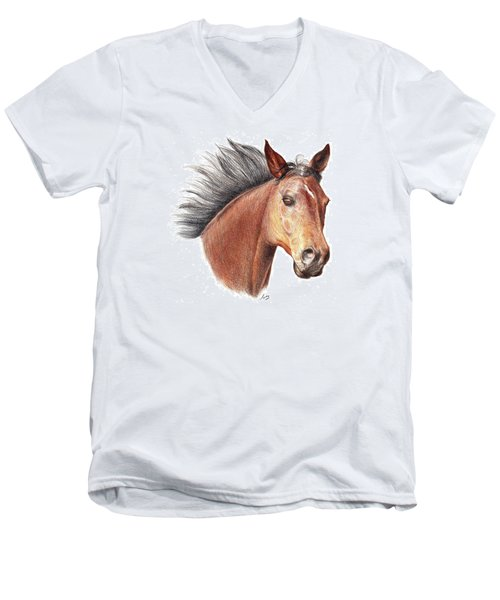 Men's V-Neck T-Shirt featuring the drawing The Horse by Mike Ivey