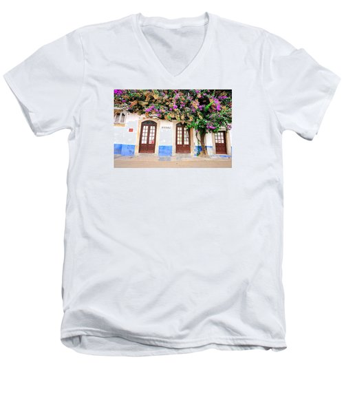 Men's V-Neck T-Shirt featuring the photograph The House With The Bougainvillea by Marwan Khoury
