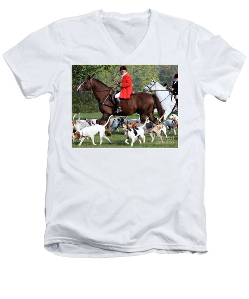 Men's V-Neck T-Shirt featuring the photograph The Hunt Is On by Polly Peacock