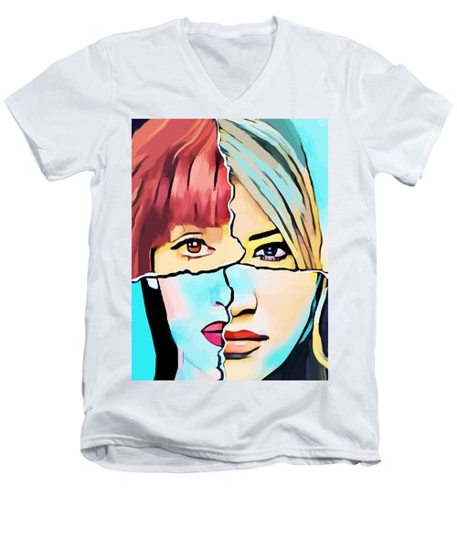 The Inner Struggle Split Personality Abstract Men's V-Neck T-Shirt