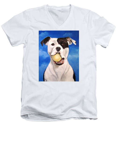 Men's V-Neck T-Shirt featuring the painting The Invitation by Laura Aceto