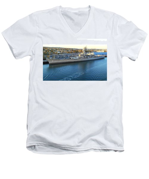 Men's V-Neck T-Shirt featuring the photograph The Iowa At Sunset by Joe Kozlowski