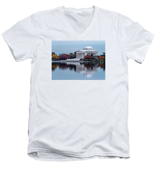 The Jefferson In Baby Blue Men's V-Neck T-Shirt by Ed Clark