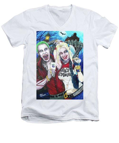 The Joker And Harley Quinn Men's V-Neck T-Shirt by Michael Vanderhoof