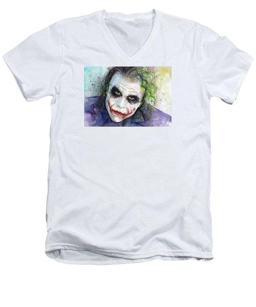 The Joker Watercolor Men's V-Neck T-Shirt by Olga Shvartsur