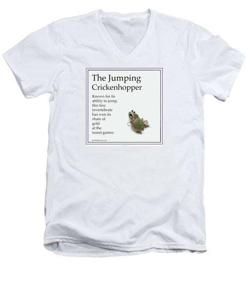 The Jumping Crickenhopper Men's V-Neck T-Shirt by Graham Harrop