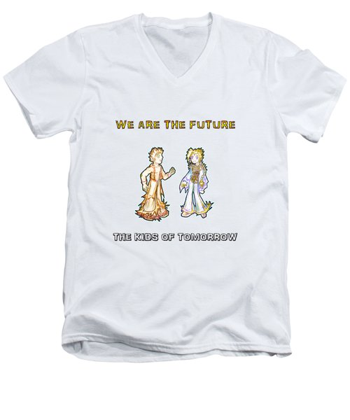 Men's V-Neck T-Shirt featuring the digital art The Kids Of Tomorrow Corie And Albert by Shawn Dall