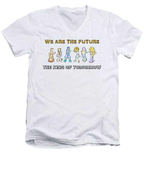 Men's V-Neck T-Shirt featuring the digital art The Kids Of Tomorrow by Shawn Dall