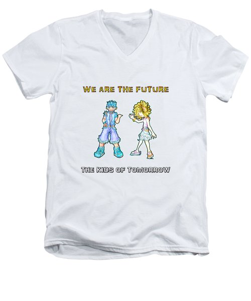 Men's V-Neck T-Shirt featuring the digital art The Kids Of Tomorrow Toby And Daphne by Shawn Dall