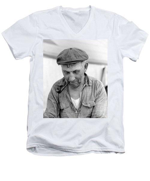 The Pipe Smoker Men's V-Neck T-Shirt by John Stephens