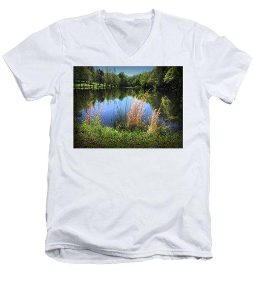 The Lake At Musgrove Mill Men's V-Neck T-Shirt by Kelly Hazel