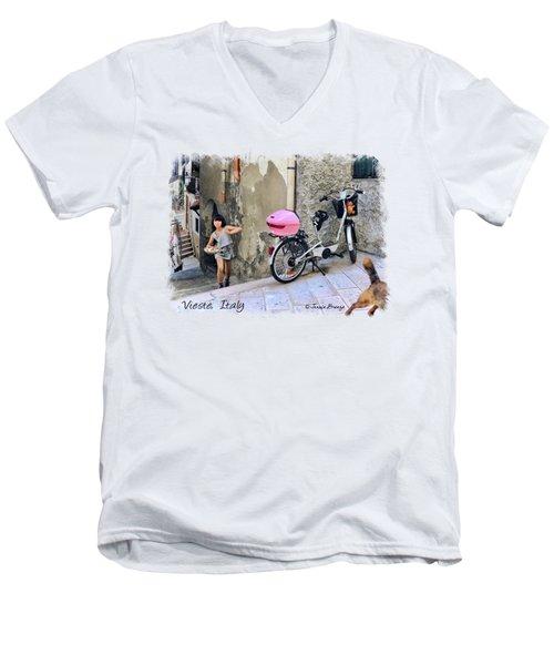 The Life.vieste.italy Men's V-Neck T-Shirt by Jennie Breeze