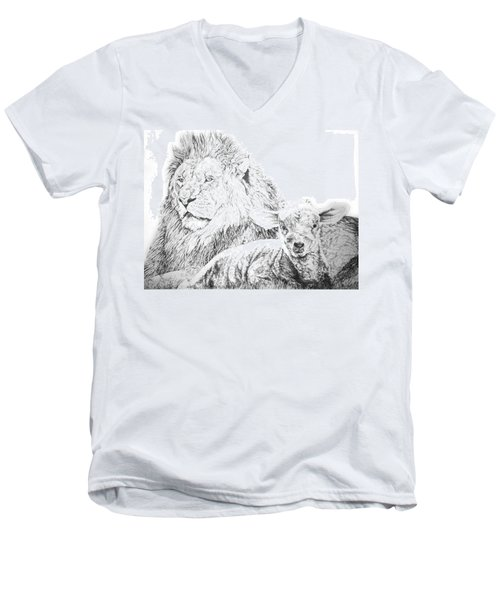 The Lion And The Lamb Men's V-Neck T-Shirt