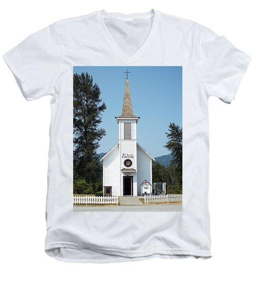 The Little White Church In Elbe Men's V-Neck T-Shirt by Joseph Hendrix