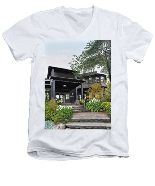 Men's V-Neck T-Shirt featuring the painting The Lodge At Fawn Island by Kenneth M Kirsch