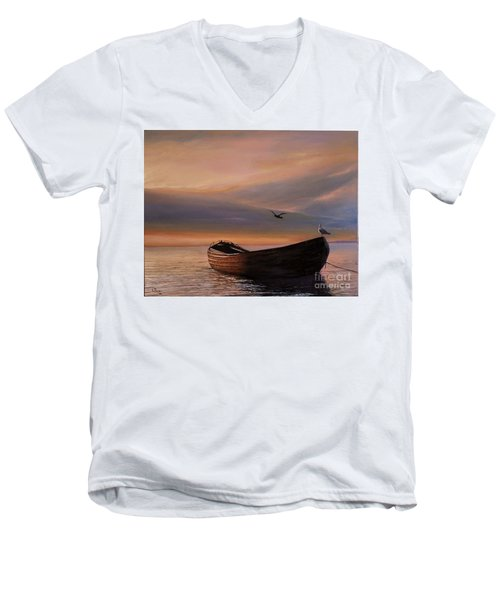 Men's V-Neck T-Shirt featuring the painting A Lone Boat by Rosario Piazza