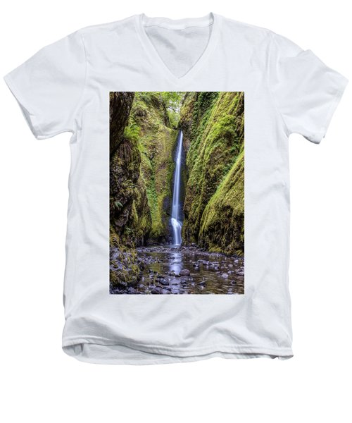 The Lush And Green Lower Oneonta Falls Men's V-Neck T-Shirt by Pierre Leclerc Photography