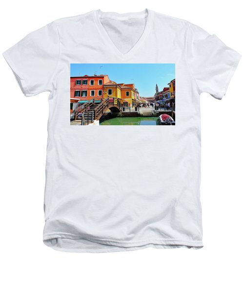 The Main Street On The Island Of Burano, Italy Men's V-Neck T-Shirt